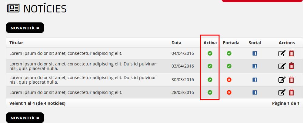 Com activar i desactivar una notícia des del llistat de l'administrador