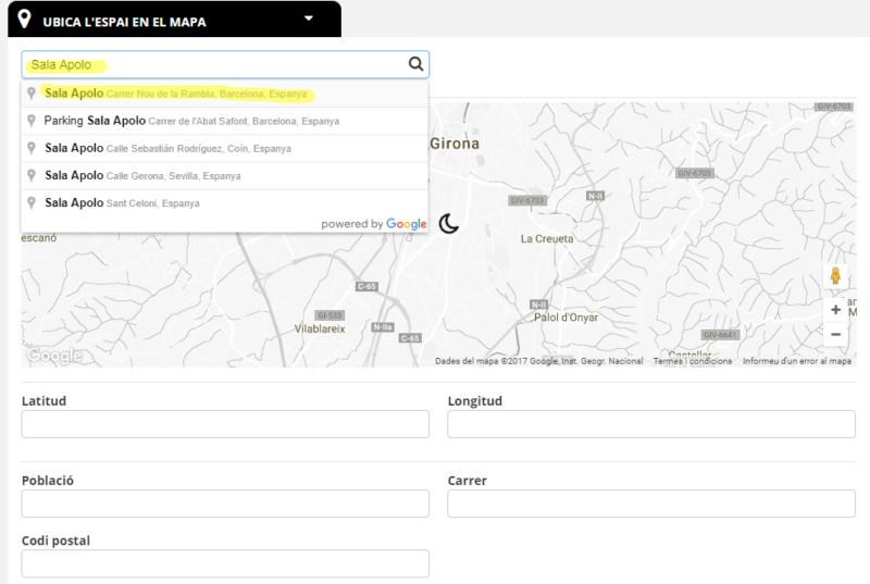 Nuevo espacio buscador mapa