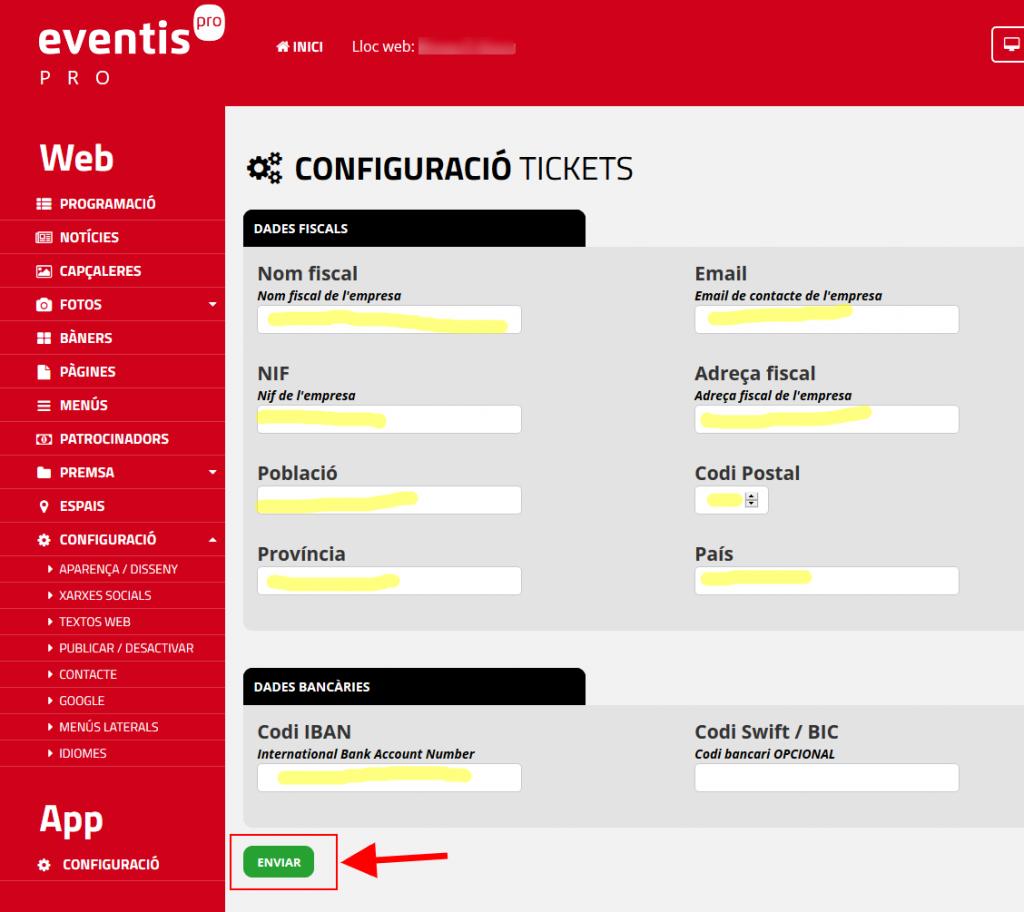 Configurar les dades de facturació específiques per a cada Eventis