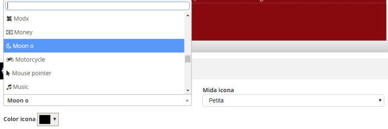 Categoria espai configuració mapa triar icona