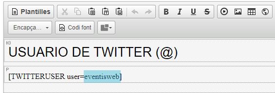 Shortcode de Twitter